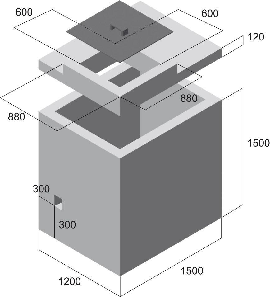 Nákres rozměrů vodoměrné šachty